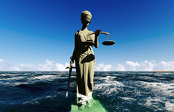 Blind Lady Justice on Water